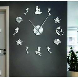 Sentop - Zrkadlové nástenné hodiny fantázia morská panna aj silver SZ068