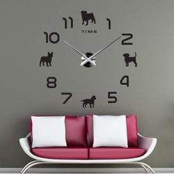 Sentop - DIY Nalepovacie hodiny na stenu pes aj silver SZ069