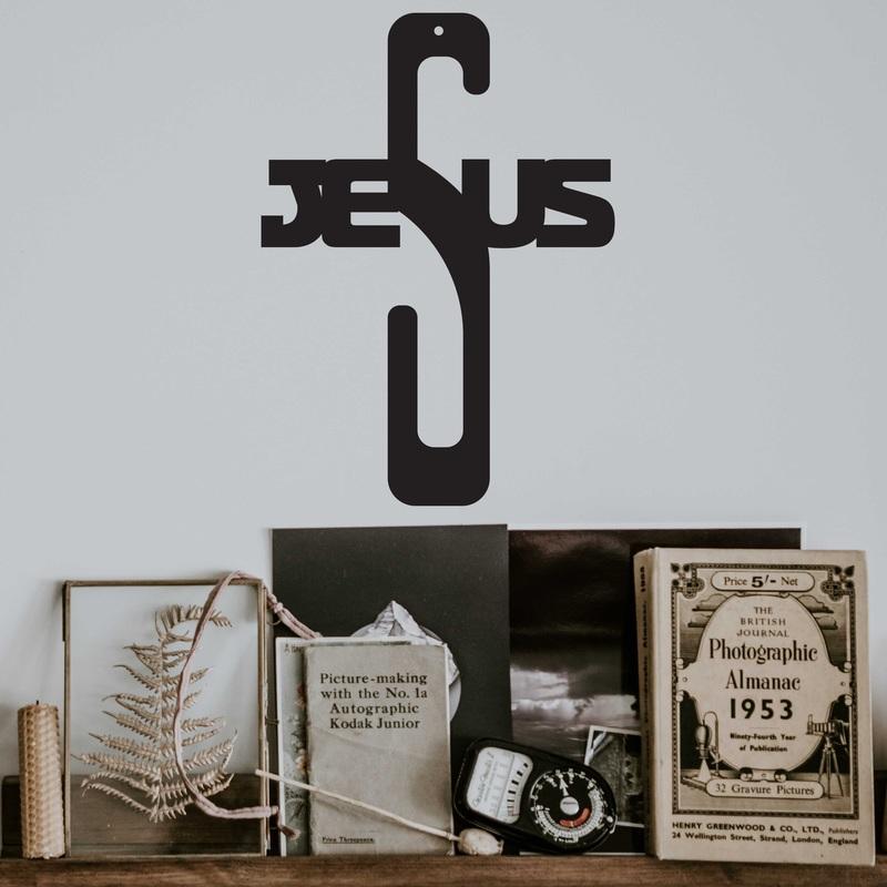 Drevená dekorácia krížik - Jesus, rozmer-250x180 mm