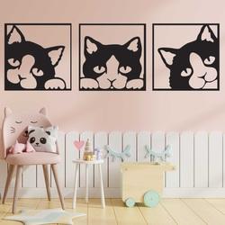 Obraz na stenu mačky z farebnej drevenej preglejky