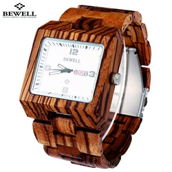 Wooden wristwatch ribbed dark red. Bewell