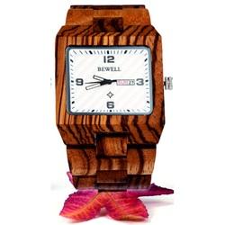 Drevené náramkové hodinky Zebrované tmavé červené. BEWELL