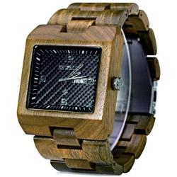 Drevené náramkové hodinky Zebrované okrové BEWELL