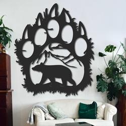 Veľký drevený obraz na stenu medvedia stopa - SOPORTAR | SENTOP