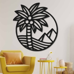 Drevený obraz na stenu palma na pláži - MALLAWI | SENTOP