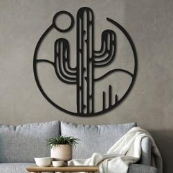 Drevený obraz na stenu kaktus so slnkom - NIAMEY | SENTOP