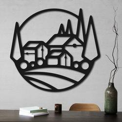 Drevený obraz na stenu domčeky - MOLDE | SENTOP