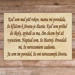 Drevená tabuľka s textom - Kľúč k životu | SENTOP