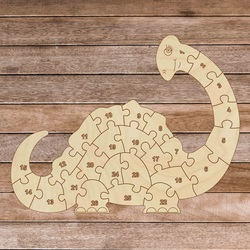 Detské drevené puzzle - Dinosaurus a čísla 26 dielikov   SENTOP  H023