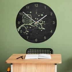 Nástenné hodiny z dreva - Sovička - prírodné aj farebné   SENTOP PR0443