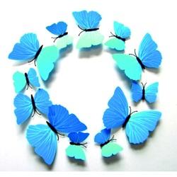 3D Nalepovacie motýle - SKI BLUE 1 balenie obsahuje 12 ks