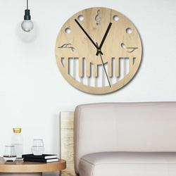 Nástenné hodiny z dreva - Noty čierne aj farebné | SENTOP PR0453