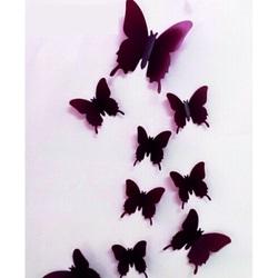 3D Nalepovacie motýle - Hnedá čokoláda - 1 balenie obsahuje 12 ks MUBO