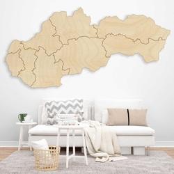 Drevená nástenná mapa Slovensko - 8 dielikov | SENTOP M001