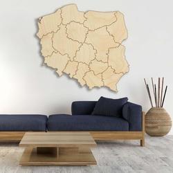 Drevená nástenná mapa Poľská republika - 16 dielikov | SENTOP M003