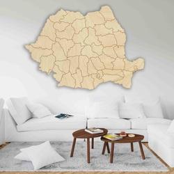 Drevená mapa na stenu Rumunsko - 42 ks | SENTOP M006