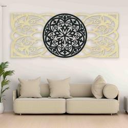 Mandala obraz na stenu z preglejky zadná časť Topoľ originál, farba prednej časti podľa výberu