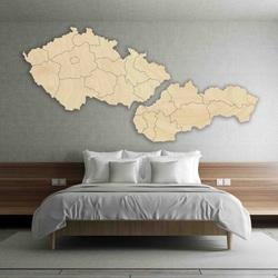 Nástenná mapa - Česko a Slovensko - drevo