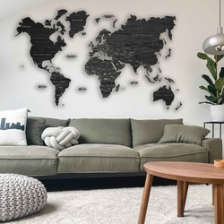 Mapa ścienna z drewna - cały świat | SENTOP M012