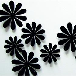 3D nálepka na stenu - Čierne kvety - 1 balenie obsahuje 12 ks