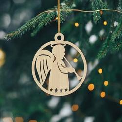 Drevená vianočná ozdoba z dreva -  Anjel, rozmer: 79x90 mm