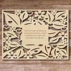 Drevená tabuľka s textom - odvážne sny - až 60 x 80 cm
