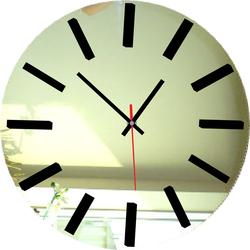 Zrkadlové nástenné hodiny - SILVER-farba: zrkadlo, čierna SENTOP X002