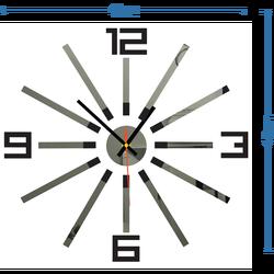 3D farebné nástenné hodiny WARRAS,farba:čierna,sivá ELEGAN