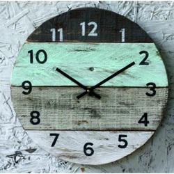 Stylesa Drevené hodiny na stenu kruh BABIĆKA D40102 aj zelené