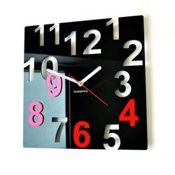 Moderné nástenné hodiny-FAREBNÉ ČÍSLA-Farba:čierna, červená