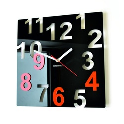 Moderné nástenné hodiny-Farebné čísla,  Farba:čierna,oranžová
