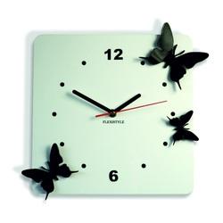 Nástenné hodiny z plastu Motýle, Farba:biela,čierna, 30x30 cm Z29 STYLESA