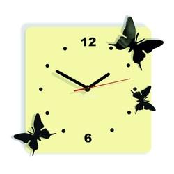 Moderné nástenné hodiny z plastu-Motýle, Farba:biela káva,čierna, Rozmer: 30x30 cm