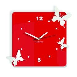 Moderné nástenné hodiny z plastu-Motýle, Farba:červená,biela, Rozmer: 30x30 cm