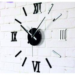 Stylesa Moderné nalepovacie hodiny na stenu rímske čísla  čierne Fi 45 cm ROMANK IA192B