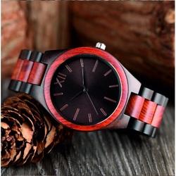 YISUYA Drevené náramkové hodinky Rímska DH015 DARK červené
