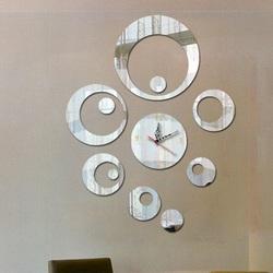 SENTOP Nalepovacie hodiny na stenu zrkadlové  OMEGAFEXF IA093S silver