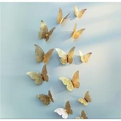 Trendy samolepka na stenu-zlatý motýľ, 1 sada - 12ks