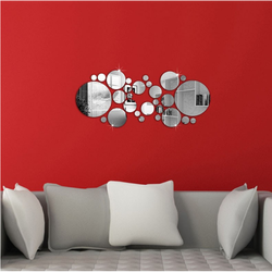 Zrkadlová dekorácia kruhy. Rozmer : 600x400x3 mm SILVER