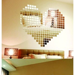 Sentop Zrkadlová samolepka na stenu  Fantázia, 1 sada obsahuje 100 kusov 2x 2 cm   zrkadiel SRDCE SILVER ZRKADLO