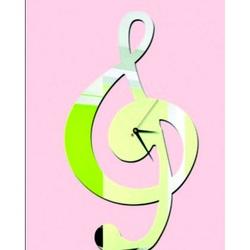 Zrkadlové nalepovacie nástenné hodiny - Husľový kľúč, rozmer: 40 x 40 cm