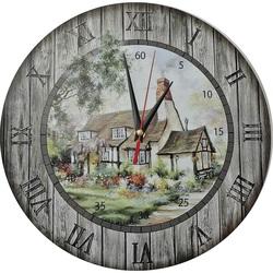 Nástenné hodiny z dreva - Chalúpka, kruh Fi: 30cm HORNET