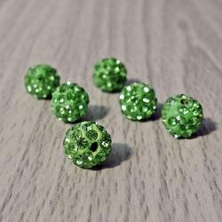 Shamballa korálka - zelená FI 10 mm