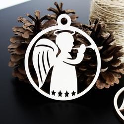 Vianočná drevená ozdoba - Malý anjel, rozmer: 79x90mm
