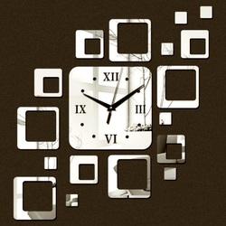 Stylesa - Nalepovacie hodiny na stenu štvorec moderné 50x40 cm FIGARO IA050S i čierne
