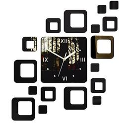 STYLESA Nalepovacie hodiny na stenu štvorec 50x40 cm 050S ZRKADLO čierne