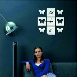 Sentop - Nástenné hodiny zrkadlové Motýlie krídla, 40x40 cm IA033S i čierne