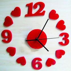 Sentop - Nástenné hodiny Červené srdcia, 30x30 cm IA187S i červené