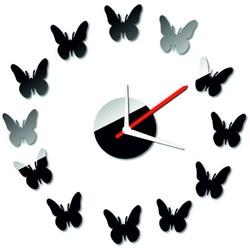 Stylesa - Moderné nástenné zrkadlové hodiny motýl  40x 40  CMELFREGIF IA144S i čierne