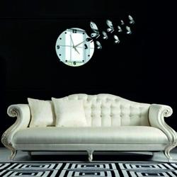 Stylesa - Nástenné nalepovacie hodiny vážka 30x40 cm DIY HOJO i čierny
